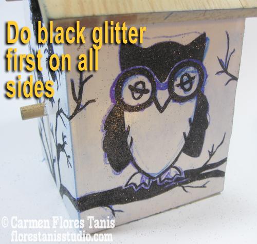 4-Do all black glitter first