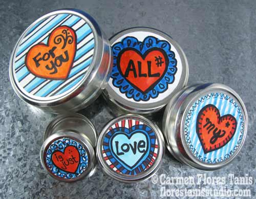 Hand-Colored Valentine's Day Stacking Tin Box Set