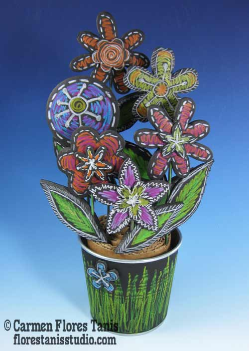 Chalkboard-Flower-Pot-Bouquet-by-Carmen-Flores-Tanis-1