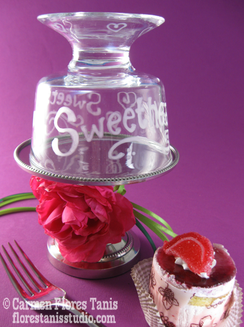 Sweets for the Sweetheart Mini Etched Glass Cake Stand