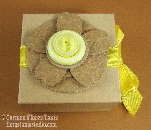Button Topped Favor Box by Carmen Flores Tanis