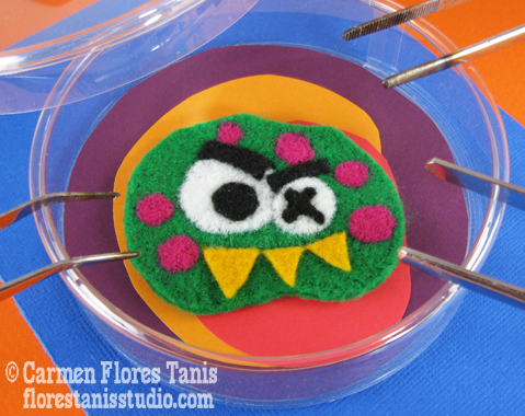 Needle Felted Lab Monster Pin - Slightly Ferocious & Awfully Cute