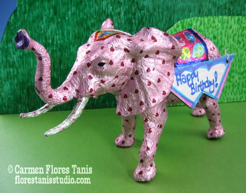 Birthday Wishes: Pink Candy Foil Elephant by Carmen Flores Tanis