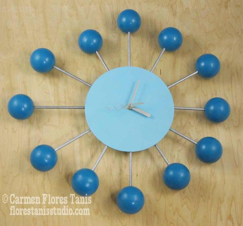 Handmade Home Decor: Mid-Century Inspired Retro Satellite Ball Clock by Carmen Flores Tanis