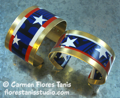 Red White and Blue Aluminum Can Cuff by Carmen Flores Tanis2