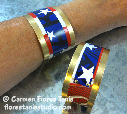 Red White and Blue Aluminum Can Cuff by Carmen Flores Tanis3