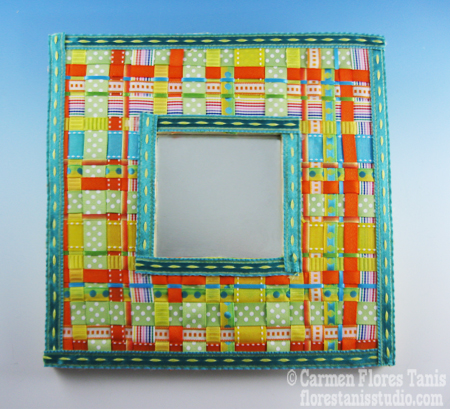 Woven Ribbon Mirror by Carmen Flores Tanis
