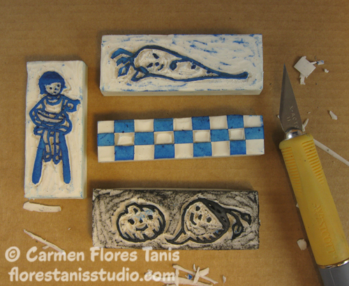 Crafting with school supplies carved eraser veggie stamps