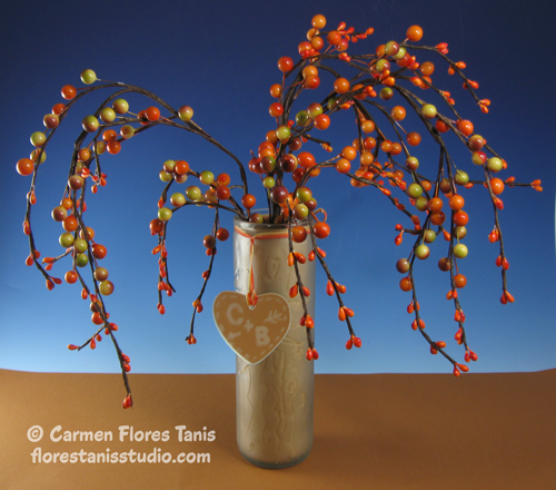 Etched Glass Sweetheart Tree by Carmen Flores Tanis