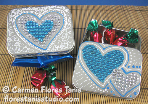 Shiny Rhinestone Valentine Heart Favor Box by Carmen Flores Tanis