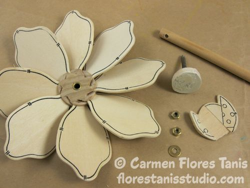 Bumble Bee Flower Pinwheel by Carmen Flores Tanis Step Out 3