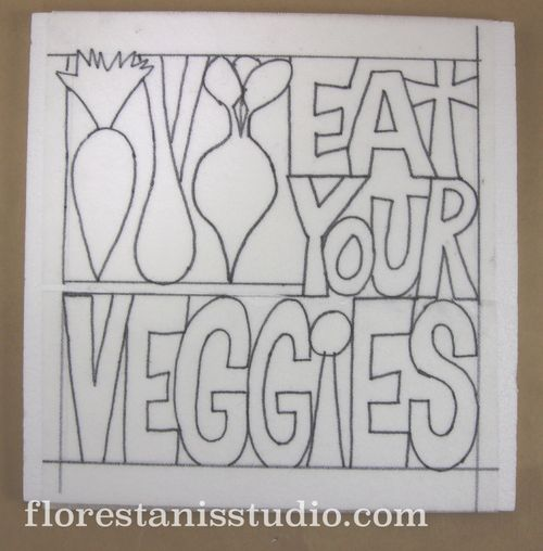Eat-Your-Veggies-Carved-Panel-by-Carmen-Flores-Tanis Step 1