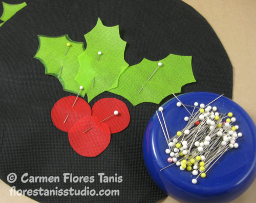 Painted Holly Applique Accent Pllow by Carmen Flores Tanis