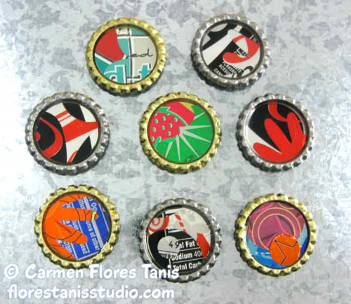 ETI Resin Bottle Cap Magnets by Carmen Flores Tanis