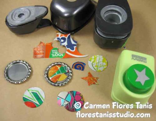 ETI Resin Bottle Cap Magnets by Carmen Flores Tanis