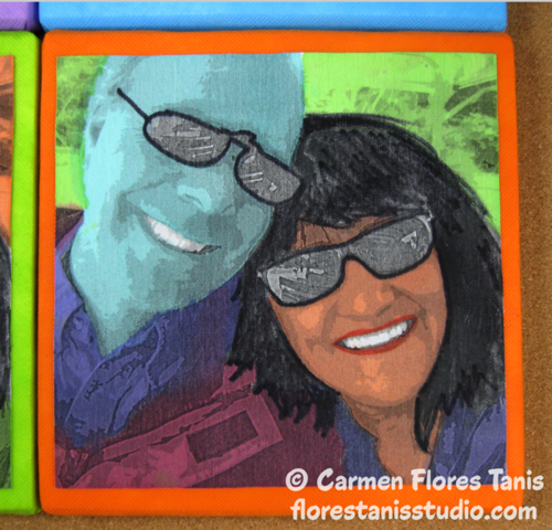 Printed and Painted Warhol Inspired Pop Art Portraits by Carmen Flores Tanis