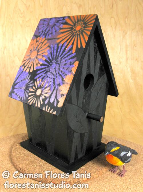 Krylon-Spray-Painted-Floral-Bird-House-by-Carmen-Flores-Tanis-Main