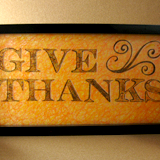 Etched Stamped Give Thanks Glass Panel