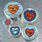 Hand-Colored Stacking Valentines Tin Box Set