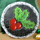 Painted Holly Applique Accent Pillow