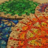 Spiral Flower Cork Coasters